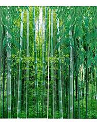 Недорогие -современная простая 3d-печать из свежего бамбукового дерева и утолщения чистого полиэфира многофункциональная ткань занавес многофункциональная ванна занавеска / занавес