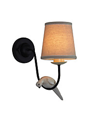 cheap -Wall Lamp Simple And Retro Design For Bedroom Studying Room And Bedside Lamp Yellow Resin Iron Cloth Wall Light Round Lampshade