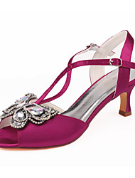 cheap -Women's Wedding Shoes Dress Shoes Spool Heel Open Toe Rhinestone Satin Summer Purple / Red / Dark Purple / Party & Evening