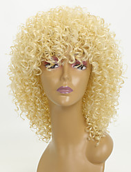 cheap -Synthetic Wig Afro Curly With Bangs Wig Blonde Short Light golden Synthetic Hair 15 inch Women's African American Wig For Black Women Blonde