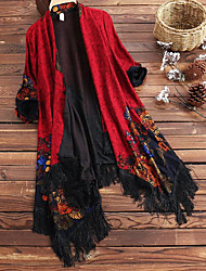 cheap -Women's Daily / Beach Boho / Sophisticated Fall & Winter Regular Cloak / Capes, Geometric Black & Red V Neck Long Sleeve Nylon Tassel / Jacquard Fuchsia / Red / Navy Blue / Batwing Sleeve / Loose