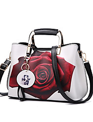 cheap -Women's Zipper PU Top Handle Bag Leather Bags Floral Print Maroon / White / Black / Fall & Winter