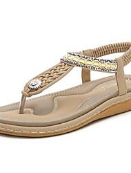 cheap -Women's Sandals Wedge Heel PU Summer Black / Almond / Purple
