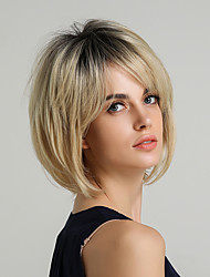 cheap -Synthetic Hair Machine Made Wig Bob Layered Haircut Short Hairstyles 2020 style Straight Natural Straight Ombre Wig 10 inch Dark Roots Women's Short Synthetic Wig