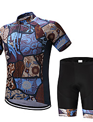 cheap -FUALRNY® Men's Short Sleeve Cycling Jersey with Shorts Brown Floral Botanical Bike Moisture Wicking Quick Dry Sports Painting Mountain Bike MTB Road Bike Cycling Clothing Apparel / Stretchy