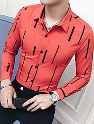 Недорогие -Муж. С принтом Рубашка Тонкие Деловые / Уличный стиль Полоски / 3D / Животное Белый / Длинный рукав