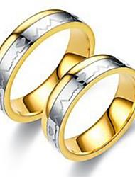 Недорогие -Муж. Жен. Кольцо Хвост 1шт Золотой Нержавеющая сталь Титановая сталь Круглый Классический Мода Подарок Повседневные Бижутерия Сердце Cool