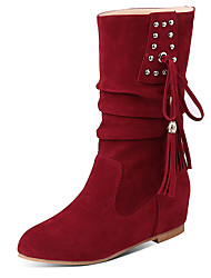 cheap -Women's Boots Flat Heel Round Toe Rivet / Tassel Suede Mid-Calf Boots Casual Fall / Winter Black / Brown / Dark Red