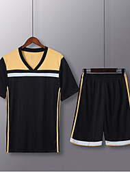 cheap -Men's Soccer Soccer Jersey and Shorts Clothing Suit Breathable Sweat-wicking Team Sports Active Training Football Stripes Polyester Adults Golden