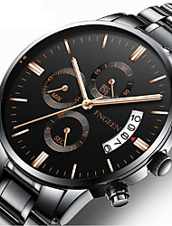 cheap -Men's Dress Watch Quartz Formal Style Stylish Luxury Calendar / date / day Analog Black / White Black Silver / One Year / Stainless Steel
