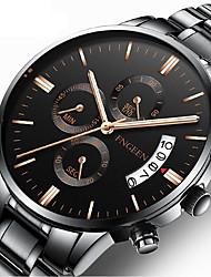cheap -Men's Dress Watch Quartz Formal Style Stylish Stainless Steel Black / Silver 30 m Calendar / date / day Analog Luxury Fashion - Black Black / White Silver One Year Battery Life