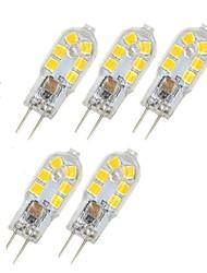 cheap -5pcs 1 W LED Bi-pin Lights 85 lm G4 T 5 LED Beads SMD 2835 Warm White White 220-240 V 12 V