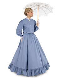 cheap -Duchess Victorian 1910s Edwardian Dress Party Costume Women's Feather Costume Blue Vintage Cosplay Daily Wear Long Sleeve Floor Length Ball Gown Plus Size / Blouses / Blouses