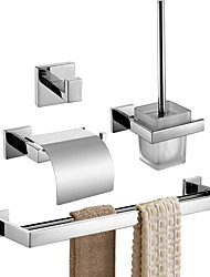 cheap -Bathroom Accessory Set / Toilet Paper Holder / Robe Hook New Design / Creative Contemporary / Modern Stainless Steel + A Grade ABS / Stainless Steel / Metal 4pcs - Bathroom Wall Mounted