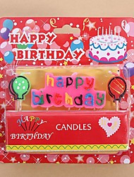 cheap -Happy Birthday Letters and Balloons Candles Set Birthday Cake Decoration Candles, Multicolor Letters with White Base