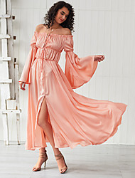 cheap -Women's Swing Dress Maxi long Dress - Long Sleeve Solid Color Split Summer Elegant Vacation Going out 2020 Blushing Pink XS S M L