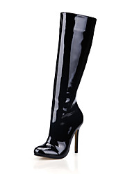 cheap -Women's Boots Knee High Boots Stiletto Heel Round Toe Patent Leather Knee High Boots Classic Winter Black / Dark Grey / White / Party & Evening
