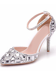cheap -Women's Wedding Shoes Party Heels Sexy Shoes Stiletto Heels Stiletto Heel Pointed Toe Vintage Minimalism Wedding Party & Evening PU Crystal Sparkling Glitter Buckle Solid Colored Silver