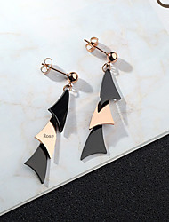 cheap -Personalized Customized Black Earrings Titanium Steel Classic Engraved Gift Promise Festival Geometric 1pcs Black