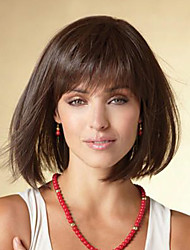 cheap -Human Hair Wig Medium Length Natural Wave Bob Black Brown Simple Sexy Lady Lovely Capless Women's All Black#1B Chestnut Brown Dark Brown / African American Wig / For Black Women