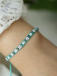 abordables -Bracelet à maillons fait main Femme Tressé Content Asiatique Bohème Bracelet Bijoux Arc-en-ciel pour Cadeau Quotidien