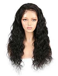 cheap -Remy Human Hair Lace Front Wig style Brazilian Hair Deep Wave Black Wig 130% Density Women's Medium Length Human Hair Lace Wig beikashang