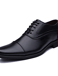 cheap -Men's Leather Shoes Nappa Leather Summer Oxfords Black / Brown / Party & Evening / Party & Evening