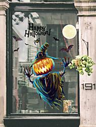 Недорогие -Хэллоуин тыква огни оконная пленка&и украшения наклейки животных / с рисунком праздник / характер / геометрические ПВХ (поливинилхлорид) стикер окна