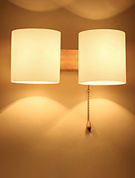 cheap -Bedside Wood Wall Lamp Storage Rack E27/E26 Socket Bed Room Night Light Frosted
