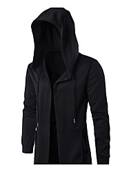 cheap -Men's Daily EU / US Size Long Cloak / Capes, Solid Colored Round Neck Long Sleeve Polyester Black