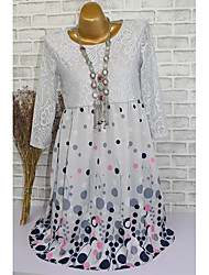 cheap -Women's Plus Size Army Green Light gray Dress Elegant Sheath Polka Dot Lace Mesh Print S M