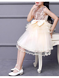 cheap -Princess Knee Length Flower Girl Dress - Polyester / Tulle / Sequined Sleeveless Jewel Neck with Bow(s) / Tier / Color Block by LAN TING Express