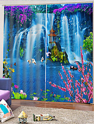 cheap -3D Beautiful Waterfall Printed Privacy Two Panels Polyester Curtain For Outdoor / Living Room Decorative Waterproof Dust-proof High-quality Curtains