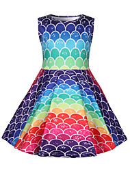 cheap -Kids Girls' Geometric Sleeveless Above Knee Dress Rainbow