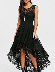 cheap -Women's A Line Dress - Solid Colored Lace White Black L XL XXL