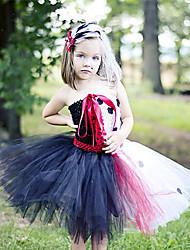 cheap -Kids Toddler Girls' Active Cute Black & White Polka Dot Animal Backless Mesh Patchwork Sleeveless Knee-length Dress Black