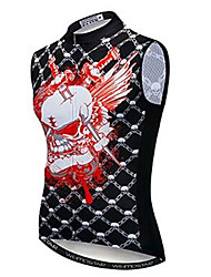 cheap -21Grams Skull Men's Sleeveless Cycling Jersey - Black / Red Bike Jersey Top Breathable Moisture Wicking Quick Dry Sports Polyester Elastane Terylene Mountain Bike MTB Road Bike Cycling Clothing