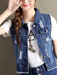 cheap -Women's Daily Basic Fall / Winter Regular Vest, Solid Colored Turndown Sleeveless Polyester Blue / Light Blue / Loose
