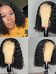 cheap -Remy Human Hair Full Lace Lace Front Wig Middle Part style Brazilian Hair Afro Curly Black Wig 130% 150% 180% Density Classic Women Natural Lovely Comfortable Women's Short Human Hair Lace Wig