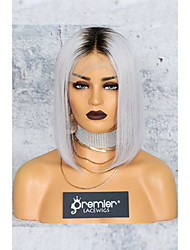 cheap -Virgin Human Hair Lace Front Wig Deep Parting style Brazilian Hair Silky Straight Blonde Wig 150% Density with Baby Hair Color Gradient African American Wig with Clip With Bleached Knots Women's Short