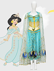 cheap -Aladdin Princess Jasmine Cosplay Costume Movie Cosplay Mesh Mini Me Blue Top Pants Shawl Children's Day Masquerade Tulle / Sleeveless
