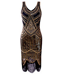 cheap -Diva Disco 1980s Dress Women's Sequins Costume Golden yellow / Silver Vintage Cosplay Prom Sleeveless Knee Length Sheath / Column