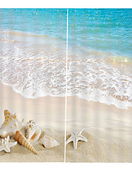 cheap -Sandy Beach Clear Printed Boutique Window Curtain Blackout Mouldproof Shower Curtain with Hook / Rings