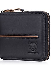 cheap -(Bullcaptain) New Leather Men'S Cross-Section Multi-Card Business Card Holder Zipper Driver'S License Leather Wallet