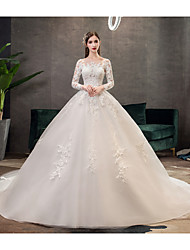 cheap -Ball Gown Bateau Neck Chapel Train Tulle Long Sleeve Made-To-Measure Wedding Dresses with Appliques 2020