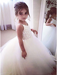 cheap -A-Line Floor Length Flower Girl Dress - Satin / Tulle Sleeveless Jewel Neck with Appliques / First Communion