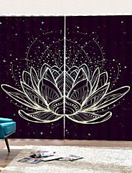cheap -Lotus Landscape Window Curtains Decorative Drapes Blackout Soundproof Heat Insulation Background Bedroom / Living Room / Hotel
