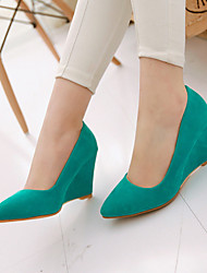 cheap -Women's Heels Wedge Heel Pointed Toe Suede Casual / Sweet Summer Black / Green / Almond