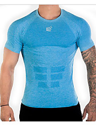 cheap -Men's Hiking Tee shirt Quick Dry Fast Dry Moisture Permeability Gym Workout Running Exercise & Fitness Cycling / Bike Indoor Sportswear Tee T-shirt Top Blue Gray Activewear