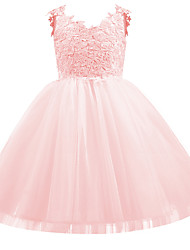 cheap -Kids Little Girls' Dress Solid Colored Bow White Black Red Above Knee Basic Cute Dresses Regular Fit